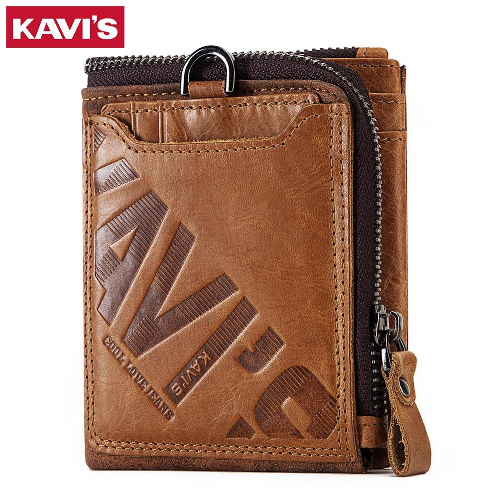 Kavis 100% 本革狂気の馬財布メンズコイン財布男性portomoneeポートフォリオカードホルダースモールヴィンテージマネーperse