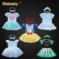 baby girls princess romper 1 2 year birthday party snow white anna elsa ariel costume toddler newborn fancy tulle tutu dress