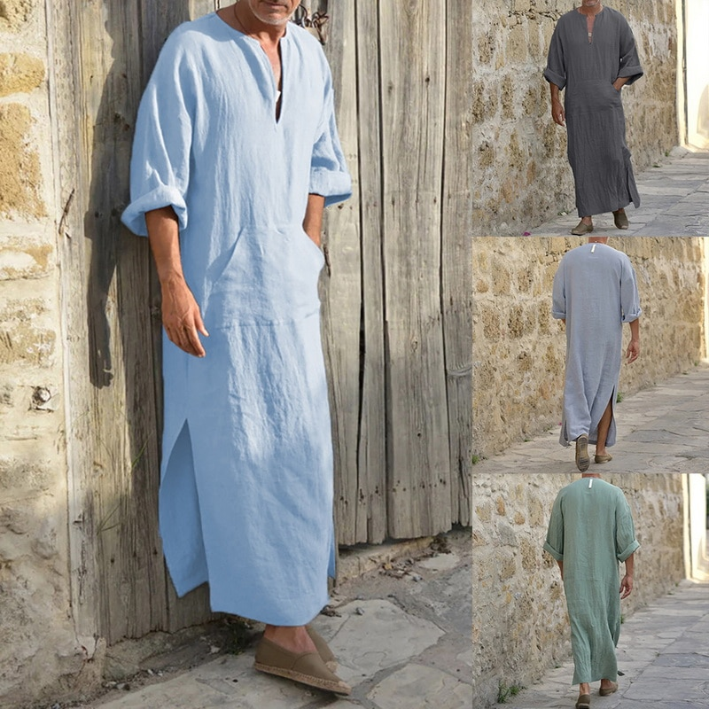Мужская длинная рубашка из хлопка и льна, длинная свободная рубашка с глубоким V-образным вырезом, в стиле Саудовской Аравии, мусульманского...