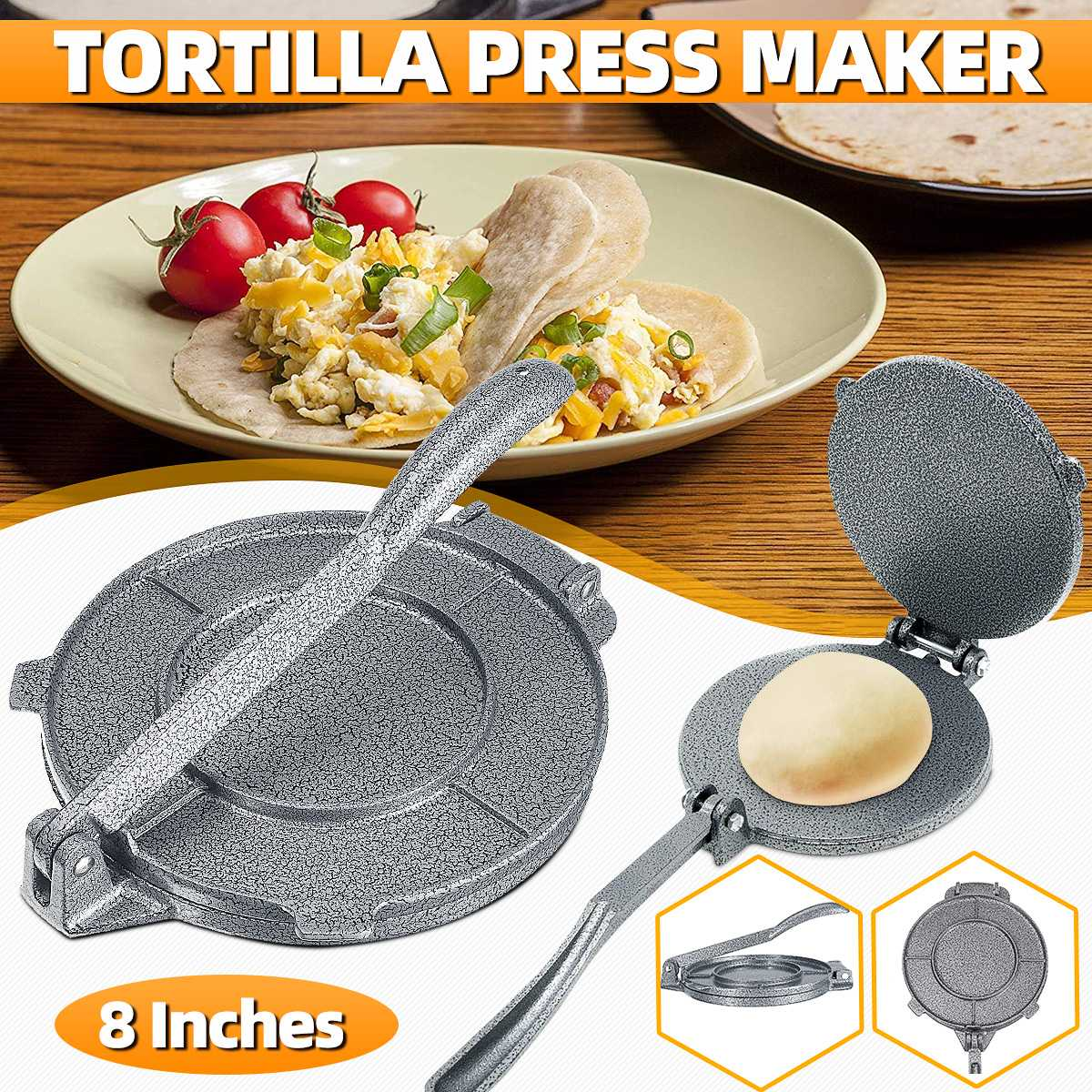 20CM Tortilla Aluminum Foldable Home Kitchen Flour Corn Baking Press Maker Tool