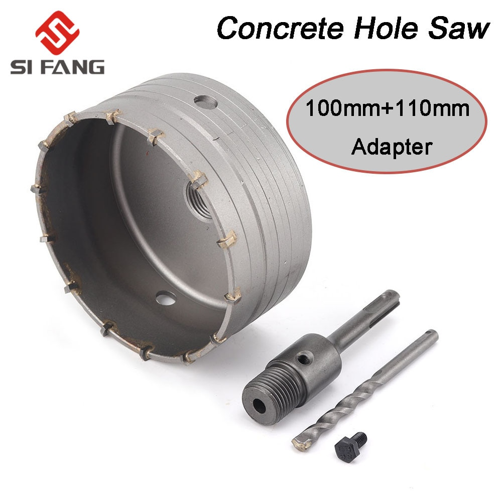 100mm SDS PLUS Concrete Hole Saw Electric Hollow Core Drill Bit 110mm Shank Cement Stone Wall Air Conditioner Alloy Blade