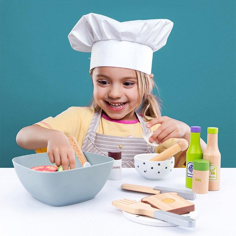 Детские кухонные игрушки «сделай сам», овощной салат, приготовление пищи, ролевая игра, домик, миниатюрная еда, деревянные игрушки для девоч...