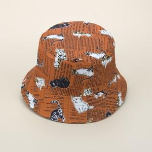 2021 Cartoon Cat Bucket Hat Women Animal Print Fisherman Hat Panama Fishing Sunscreen Cap Summer Travel Hat for Girl Friend Gift