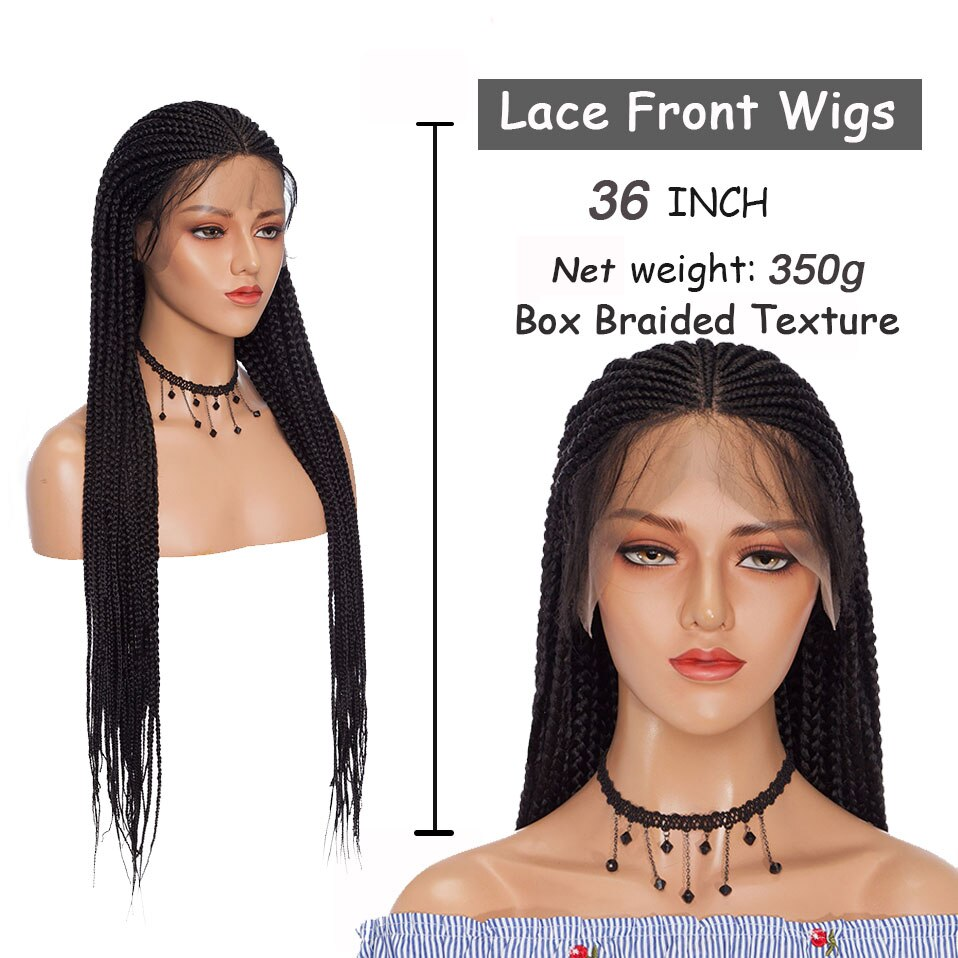 Benehair 36'' Braided Lace Front Wigs With Baby Hair Synthetic Lace Frontal Box Braids Wigs For Black Women Long Black Afro Wig enlarge