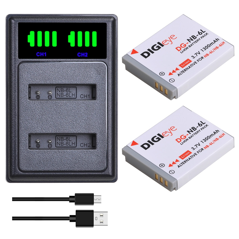 2 uds NB-6L NB 6L NB-6LH NB 6L batería + LED Dual...
