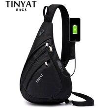 TINYAT New Man worek torba na ramię Anti-Theft Crossbody torba na 9.7 ''Pad USB Charge wodoodporna torba podróżna casualowa torba noszona na klatce piersiowej