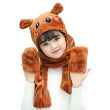 Gants unisexe 3 en 1 pour enfants   Écharpe chapeau, gants épais, peluche motif Animal, sweat à capuche, oreilles rabat
