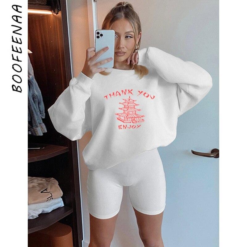 BOOFEENAA merci profitez de deux pièces tenues Sweat costumes femmes vêtements survêtement haut à capuche Biker Shorts 2 pièces ensemble C69-DB39