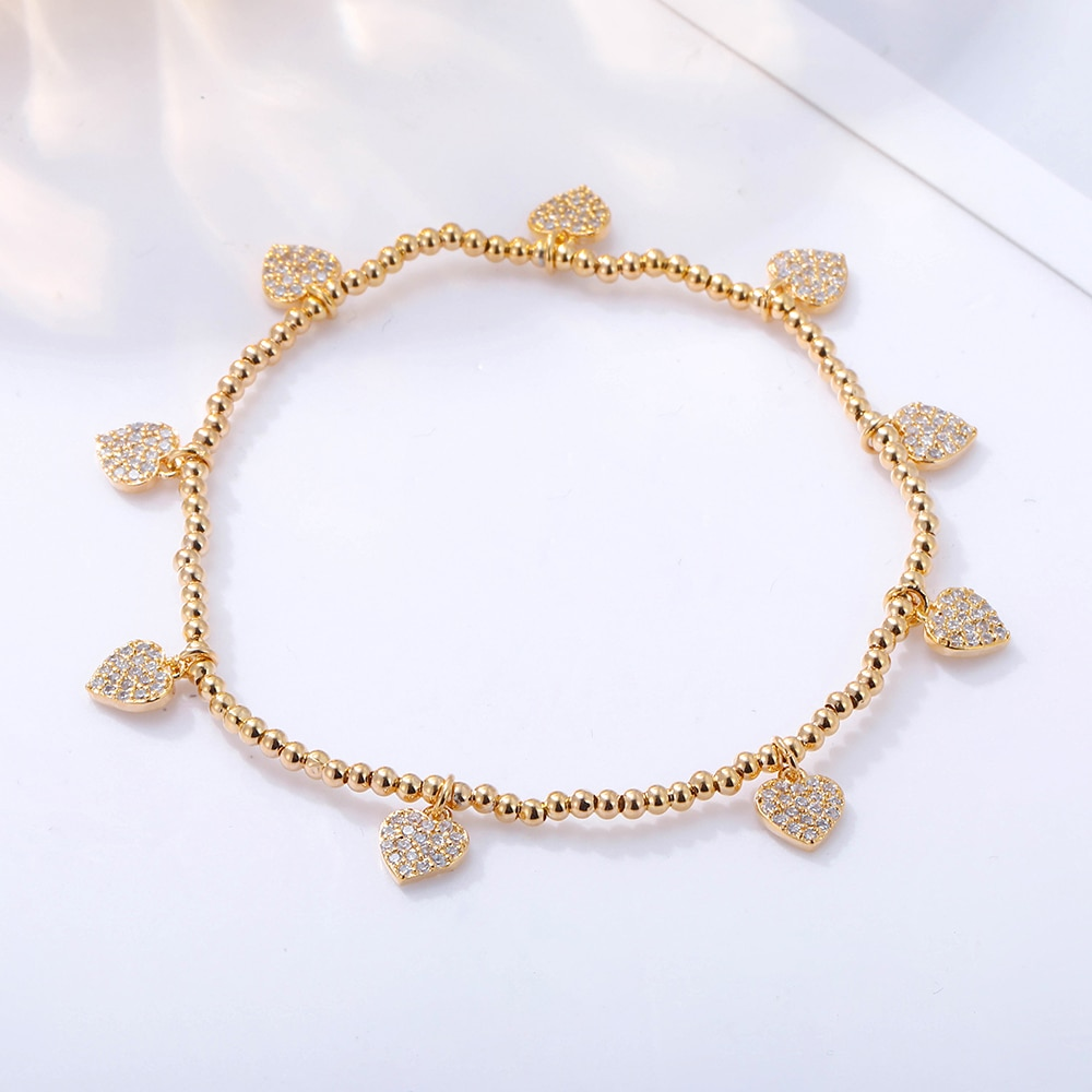 Aaa zircônia cúbica coração encantos pulseira para as mulheres cor do ouro contas elásticas pulseira presente de casamento moda jóias acessórios 2020
