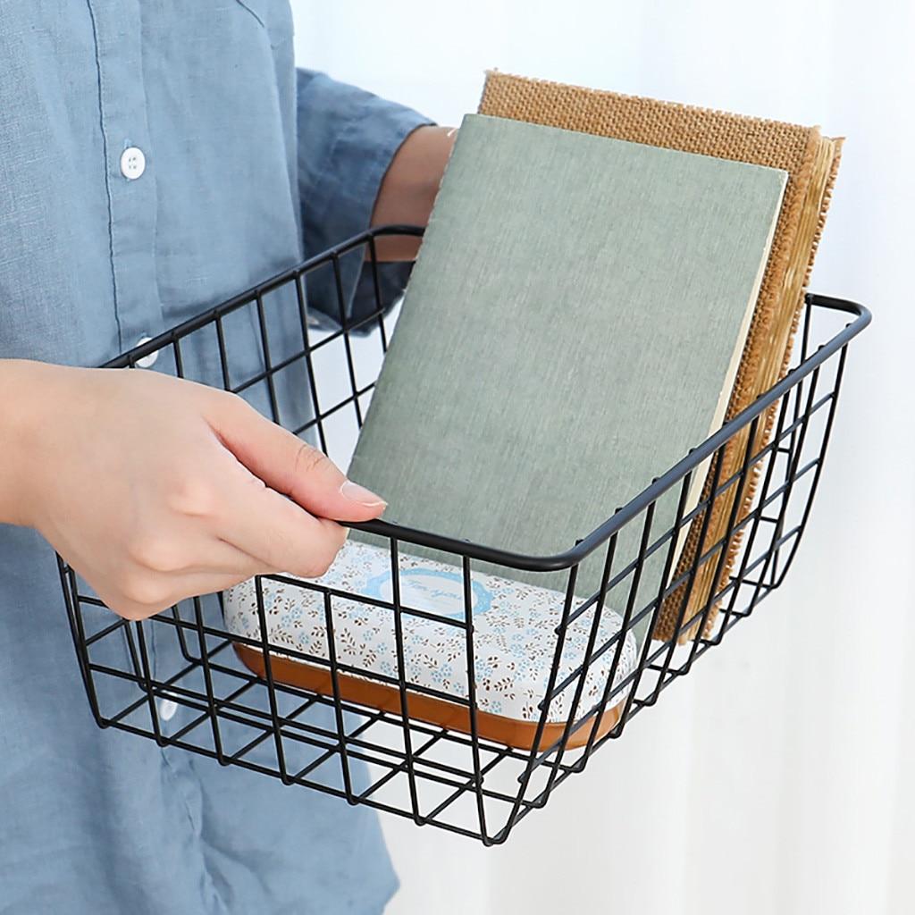 Organizador cesta de almacenamiento de alambre de hierro, 1 unidad, baño/Cocina/lavandería, multiusos, suministros de almacenamiento de alta calidad