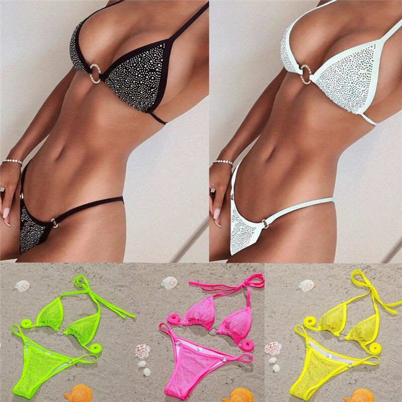 Bling cristal ostentoso de Sexy Bikini conjunto anillo venda 2020 mujeres Bikini de baño con Tanga mujer ropa de playa, traje de baño