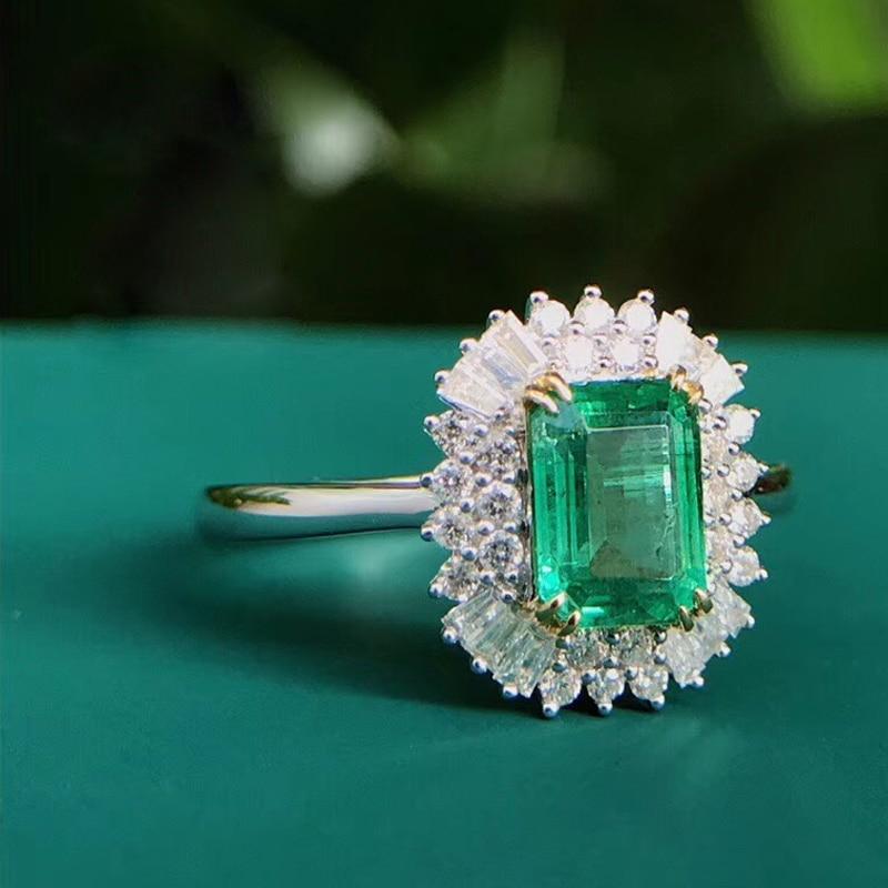 مجوهرات AEAW 18K الذهب الأبيض 1.0ct خاتم الزمرد الطبيعي الزمرد قطع الأخضر الأحجار الكريمة خاتم الماس والمجوهرات النساء
