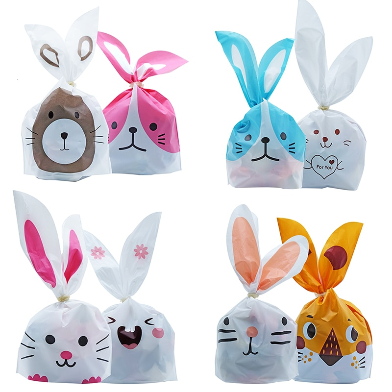 10/50pcs/lot Cute Rabbit Ear Bags Cookie Plastic Bags&Candy Gift Bags For Biscuits Snack Baking Pack