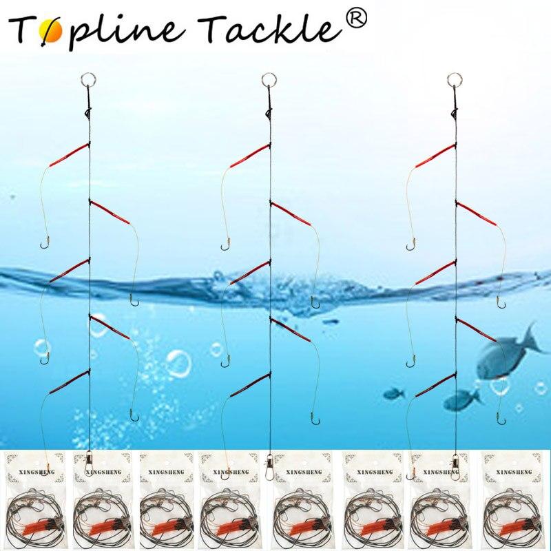 Anzuelos de acero inoxidable cebos de aparejos de Pesca giratorios cebos de Pesca solo gancho de cadena Japón con 5 ganchos pequeños