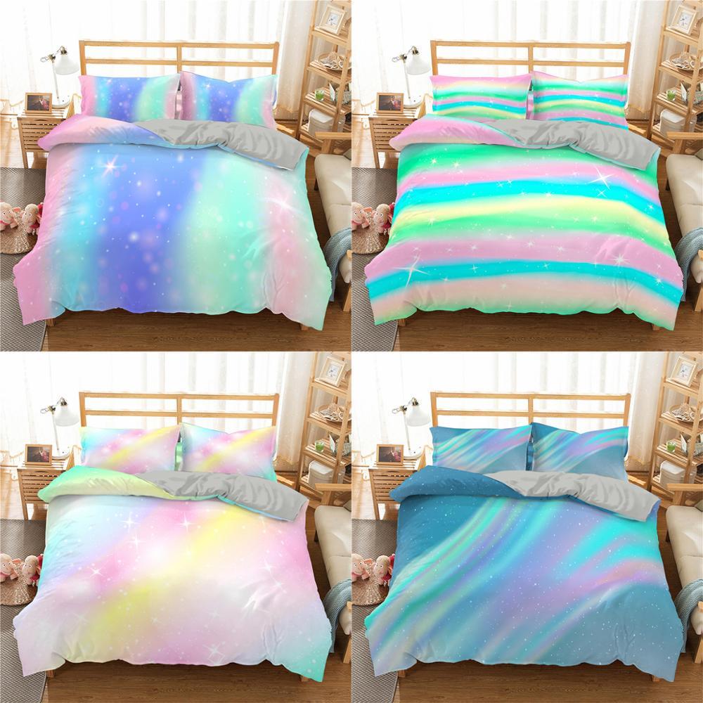 3D принт красочные блестящие Постельное белье для Для женщин девушки постельное белье блестящие пододеяльник Мода постельное белье с Pillowsham ...