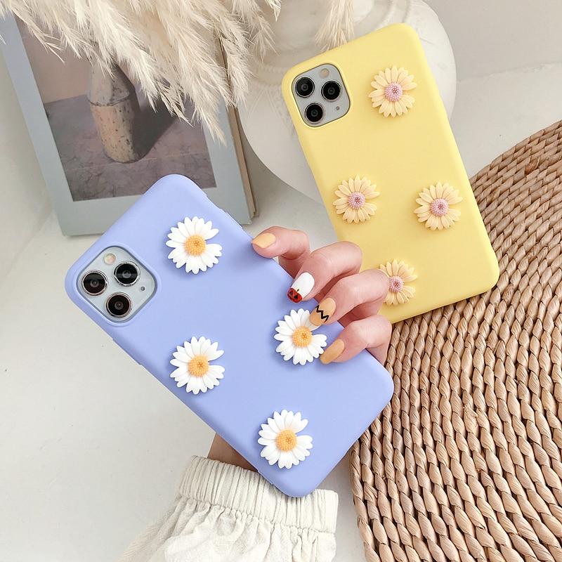 Korea ins Cute 3D Daisy Soft Phone Case For iphone X XR XS 11 Pro MAX 6S 7 8 plus + for samsung S10 e S9 S8 Note 10 9