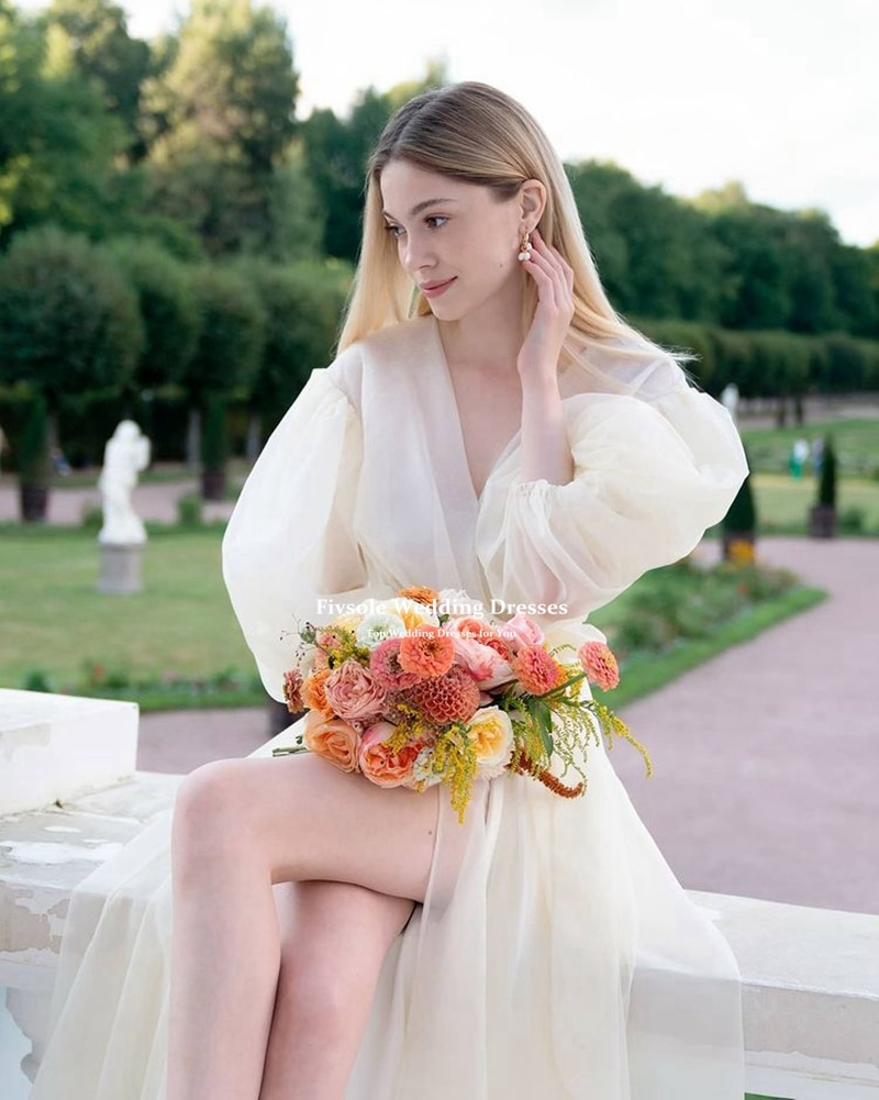فستان الزفاف الفيفولي الخامس الرقبة الأورجانزا 2021 الزفاف الحديثة تصميم بسيط القوس وشاح بوهو رداء دي ماري فستان عروس فستان زفاف