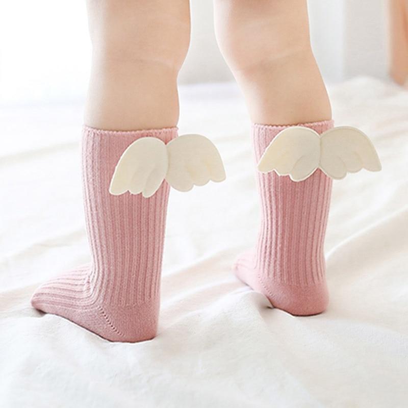 Otoño Invierno niños niñas pequeñas alas de Ángel calcetines para niños niñas niños suaves antideslizantes calcetines de algodón para 6 meses-5 años