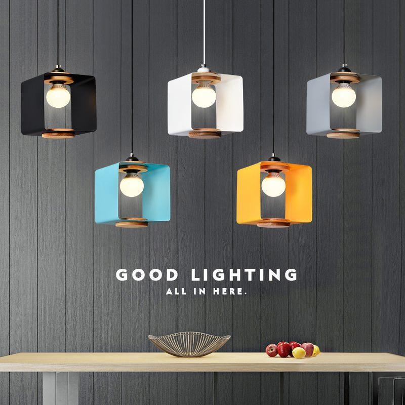 الشمال آرت ديكو قلادة ضوء خشب متين الحديد المطاوع مطعم مصابيح الإبداعية مقهى بار بسيط رئيس واحد قلادة ضوء