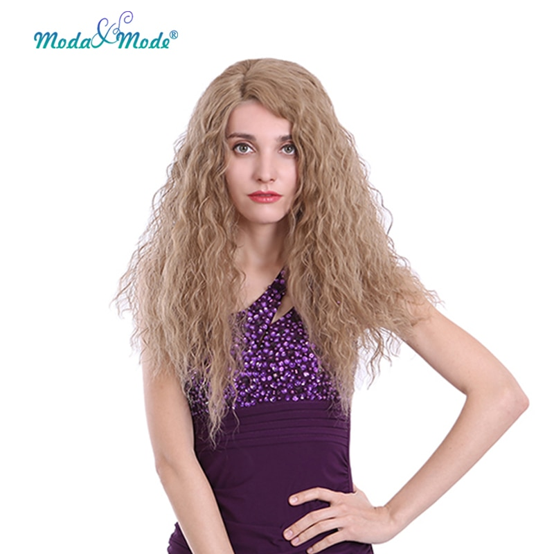 Moda y modo peluca larga rizada de encaje sintético 24 pulgadas peluca...
