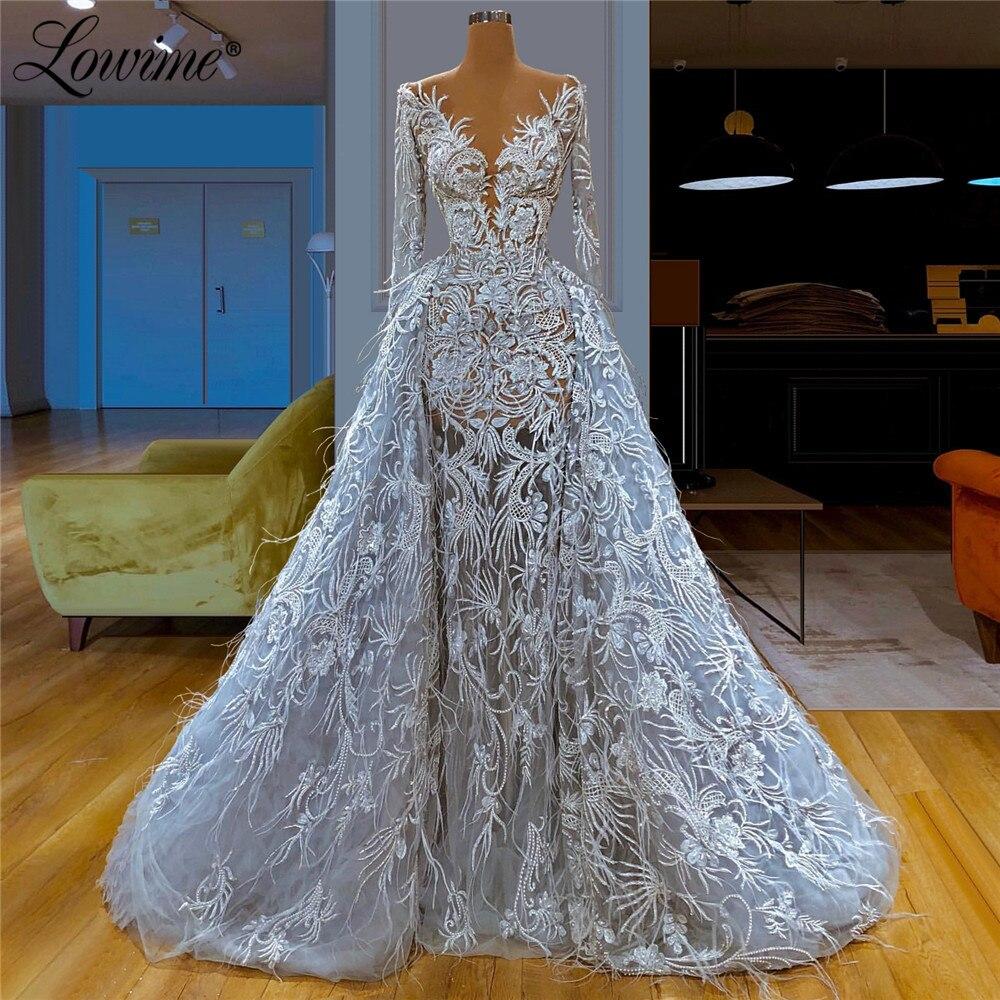 Ver a través del vestido de noche con plumas 2020 nueva llegada ilusión aigoody mujeres costura fiesta de Dubai vestidos saudí vestidos largos para fiesta árabes