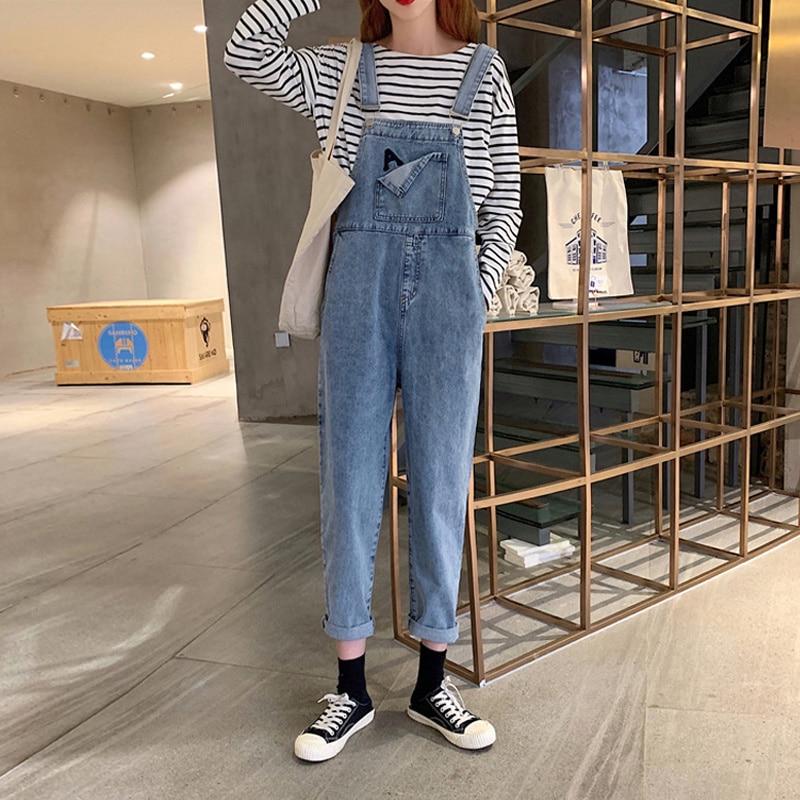 2021 Internet Celebrity Denim Salt Suspender Pants Women's Spring and Autumn Korean Style Wide Loose Summer Cute Japanese Style