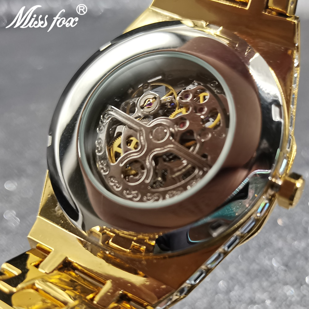 MISSFOX Hollow Mechanical Automatic Man Wristwatches AAA Gold Square Diamond Iced Out Gentleman Luxury High-end Business Clocks enlarge
