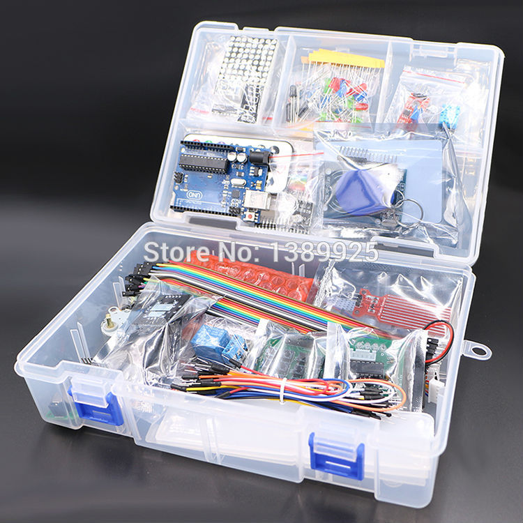 Free Shipping Upgraded Advanced Version Starter Kit the RFID Learning Suite Kit LCD 1602 for Arduino UNO R3