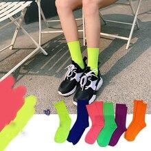 Femmes mode couleur bonbon chaussettes été Cool fille solide coton chaussettes couleur fluorescente décontracté vert Orange mi Hip Hop chaussettes chaudes