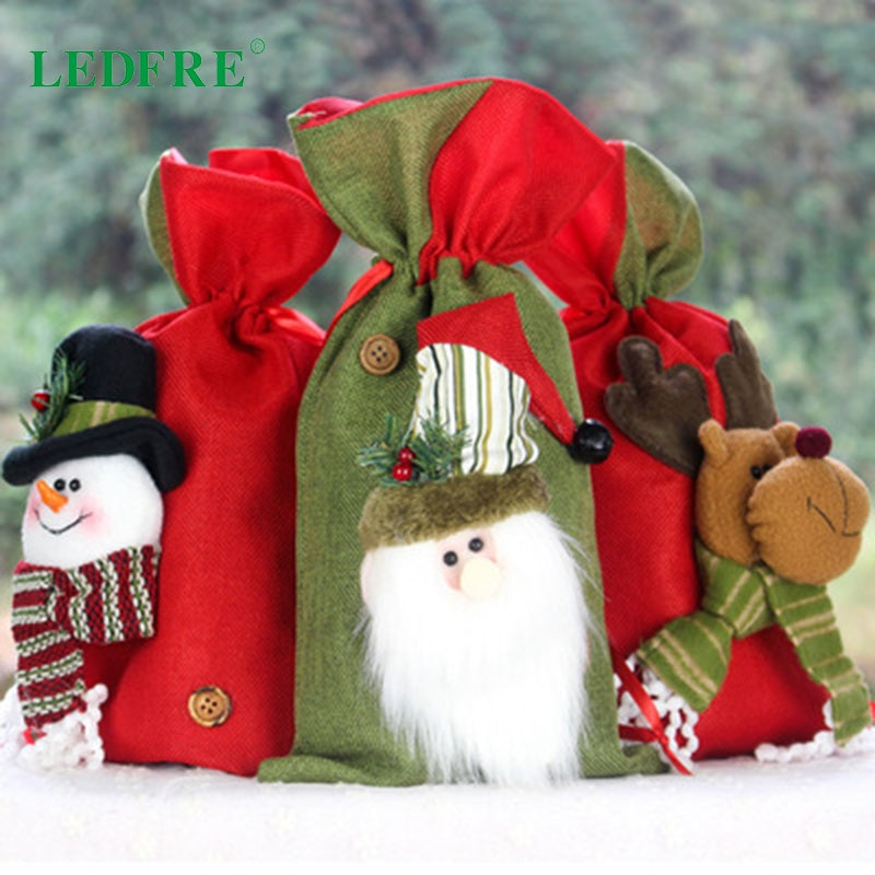 New Christmas Decorations Decorate Gift Bags Children's Candy Bags Small Linen Tote Bags Gift Bags Ornaments LF98025