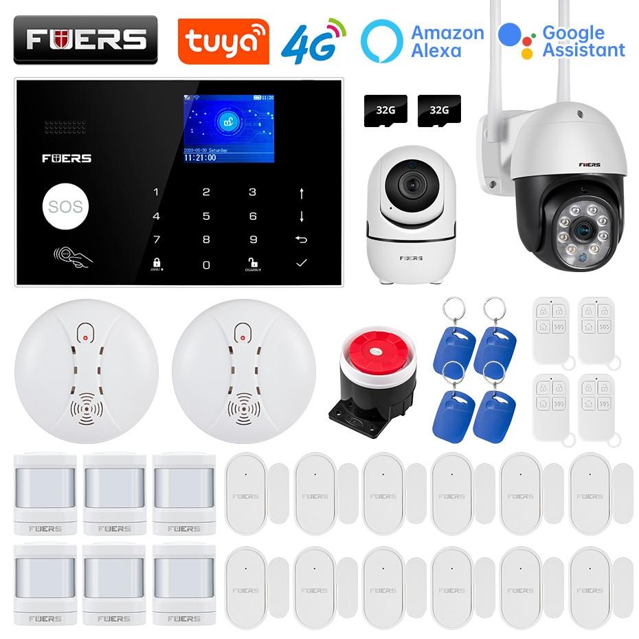 FUERS-نظام إنذار لاسلكي لأمن المنزل الذكي ، wi-fi ، 4G ، Tuya ، كاميرا ، صفارة إنذار ، كاشف حركة ، كاشف دخان PIR