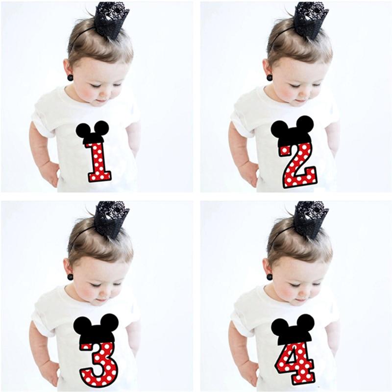 1 2 3 4 Jaar Jongens T-shirts Mini Muis Meisjes Tees Kinderen Zomer Cartoon Tops Leuke Katoenen Korte Mouw Mode kinderen T-shirt