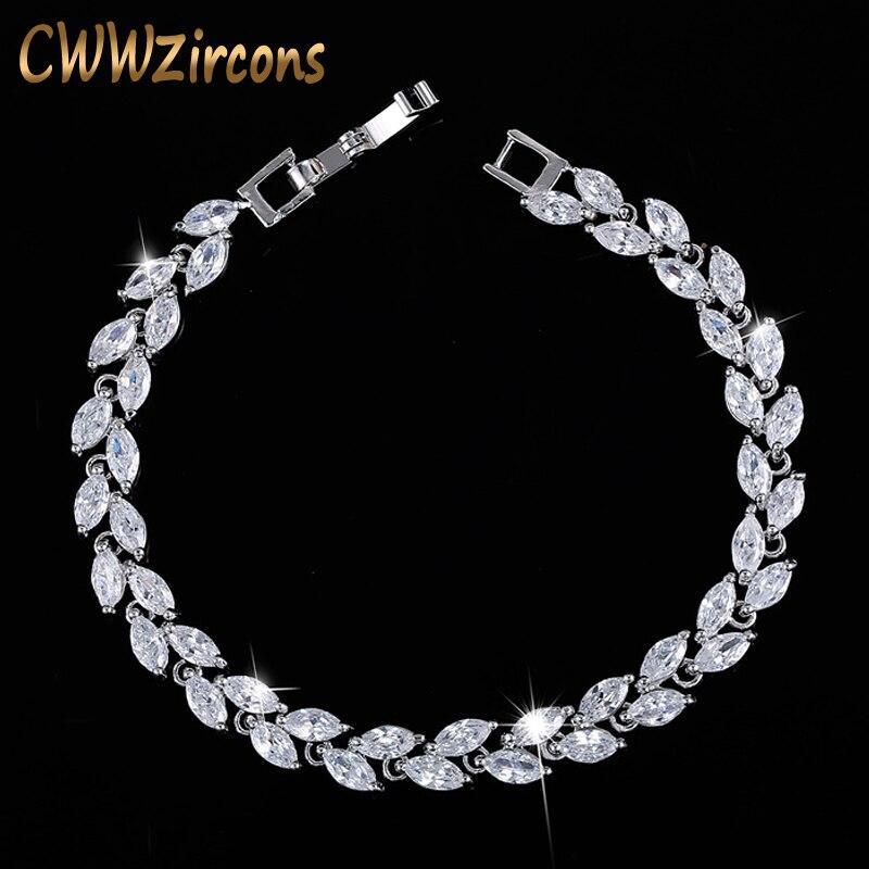 CWWZircons nueva moda 2020 joyería de circonia cúbica Color plata hoja encanto CZ cristal pulseras brazaletes para mujeres CB060