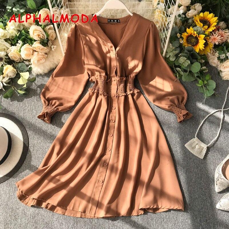 ALPHALMODA New Solid Dress 2019 Single Breasted V-collar Stretchy Waist Slim Women A-line Chiffon Dress for Autumn