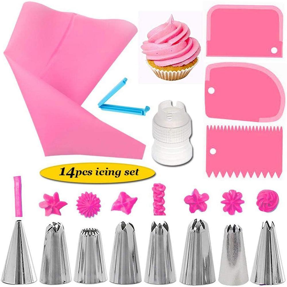 14 stücke Silikon Gebäck Tasche Tipps Küche DIY Icing Creme Wiederverwendbare Gebäck Taschen Düse Set Kuchen Dekorieren Werkzeuge 40P
