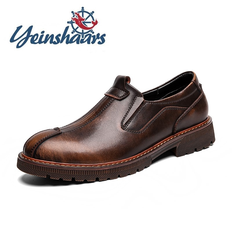 2021 Men Shoes Dress Genuine Leather Luxury Designers Fashion Vintage Formal Loafers Business