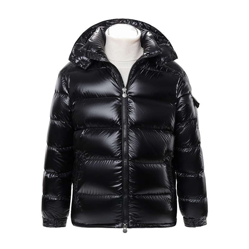 MZ autumn and winter new men's down jacket for men and women lovers 90 down thickened warm detachable hat maya bright black coat