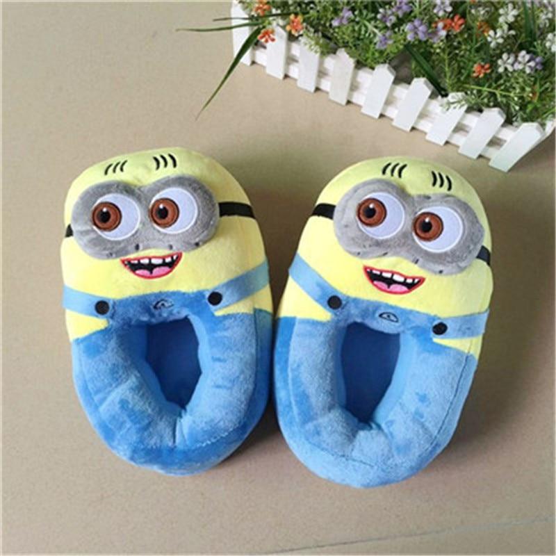 Zapatillas de casa de invierno mujer Despicable Me Minions pantuflas de peluche para interior zapatillas divertidas Flock Cosplay casa Zapatos tamaño 36-4