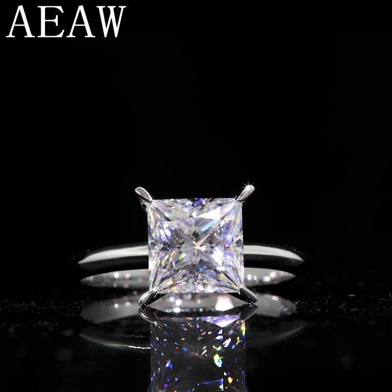 خاتم خطوبة من الذهب الأبيض عيار 3.0 عيار 585 قيراط للنساء ، مجوهرات مويسانيتي مصدق بها ، عيار 8 مللي متر ، 14 قيراط