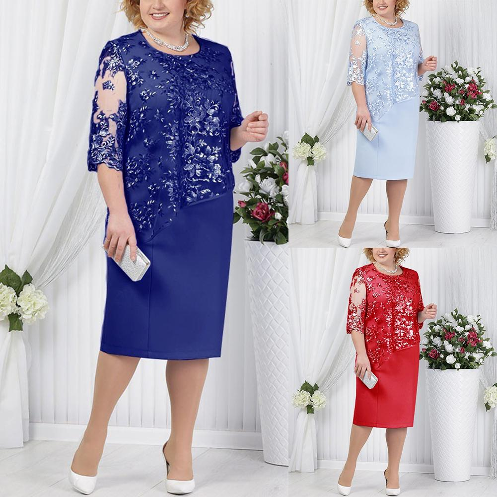 Women Dress Plus Size Party Sheer Half Sleeve Floral Lace Layered Mother of Bride Midi Dress Elegant