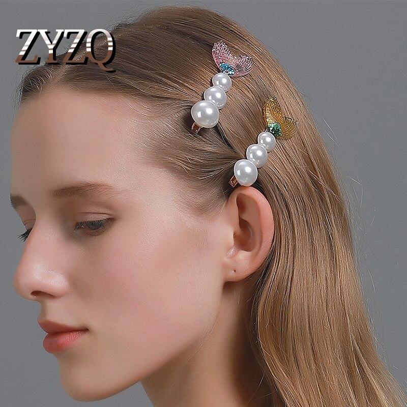 Zyzq sereia fishtail hairpin menina doce lantejoulas lado clip hairapers imitação pérola cristal barrettes acessórios para o cabelo por atacado