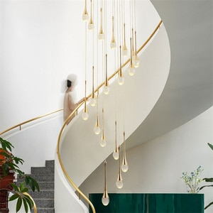 meteor pendant Lights Fixture gold LED Crystal Spral Raindrop pendant Lighting for Stairs Chandelier LED Home Lobby Living Room