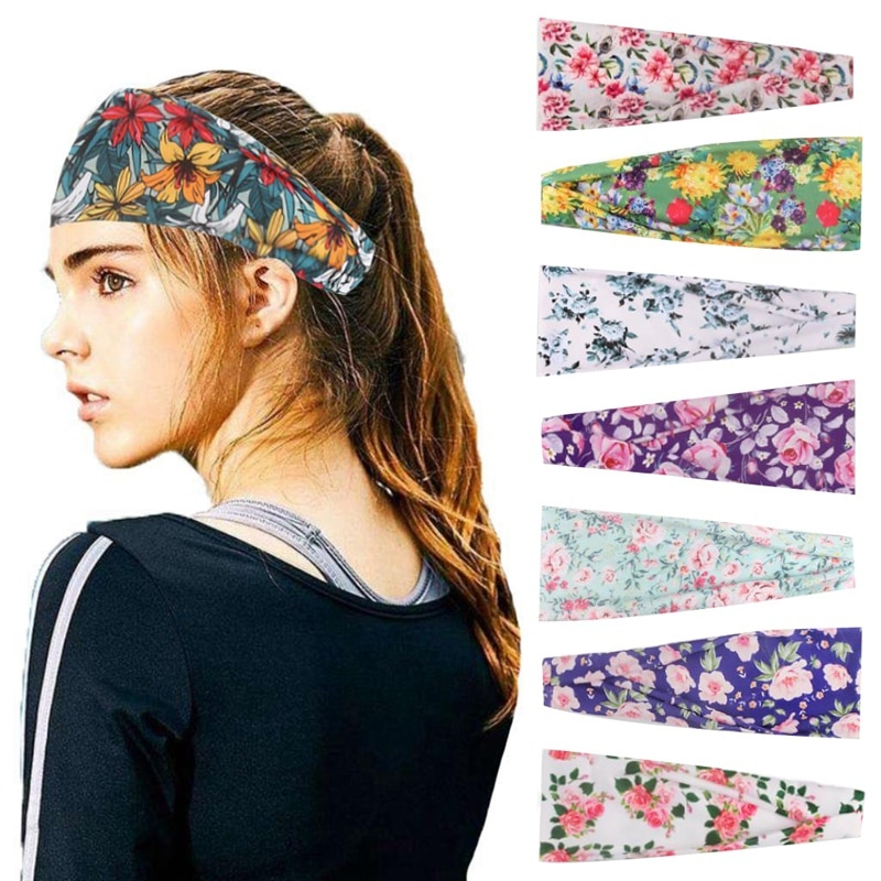 8 Uds deportes de las mujeres diadema banda para el pelo de Yoga al aire libre correr sudor ancho de banda pañuelo impreso tocado