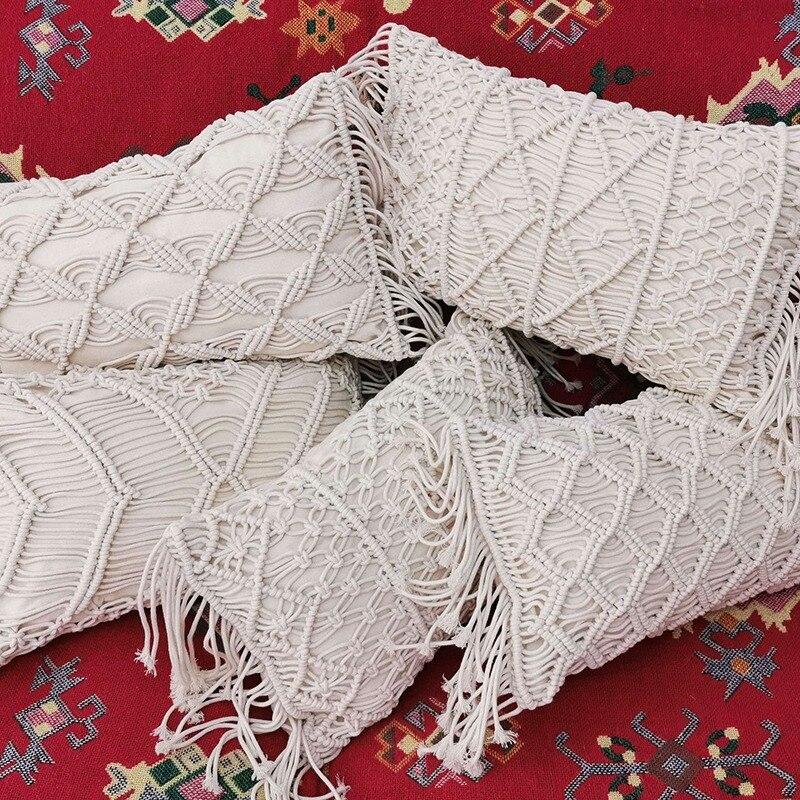 30X50cm مكرامية المنسوجة يدويا خيط قطني وسادة تغطي غطاء وسادة أريكة الزخرفية سادات المنسوجات المنزلية