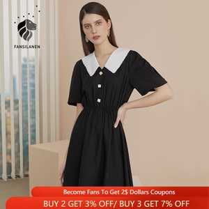 FANSILANEN Short Sleeve Vintage Mini Black Dress Women Slim Elegant Spring Summer Dress Female Office Lady Sexy Retro Dress 2021
