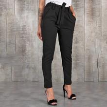 Stylish Pant Pockets Fashion Basic Bandage Knitted Women High Waist Slim Streetwear Capris Female Ch