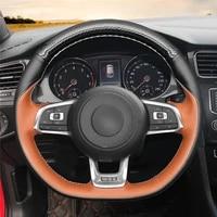 diy anti slip wear resistant steering wheel cover for volkswagen golf 7 gti t roc passat tiguan car interior decoration
