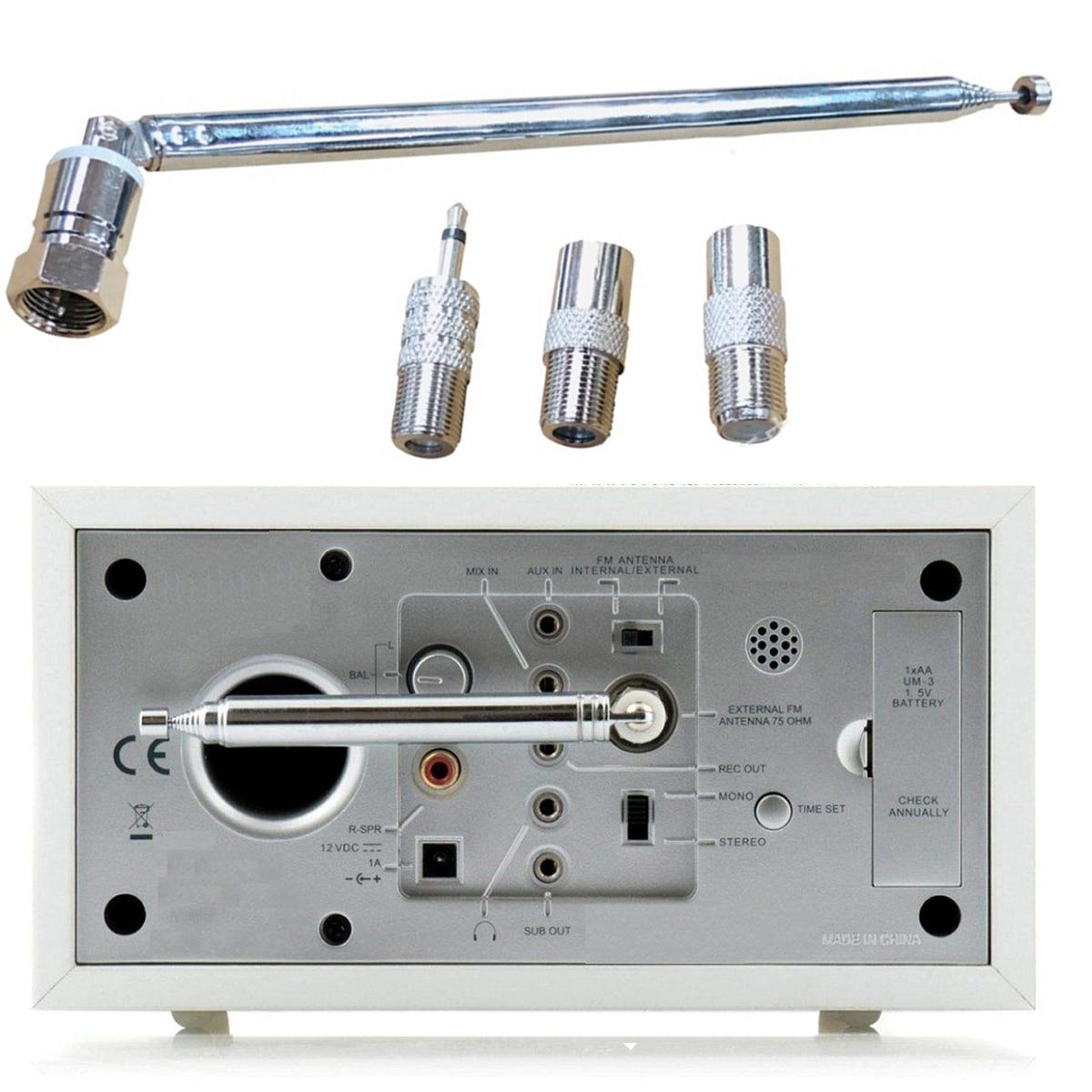 SOONHUA 4pcs/set FM Radio Antenna 75 Ohm Radio Antenna F Type Male Telescopic Antennas With Adapter