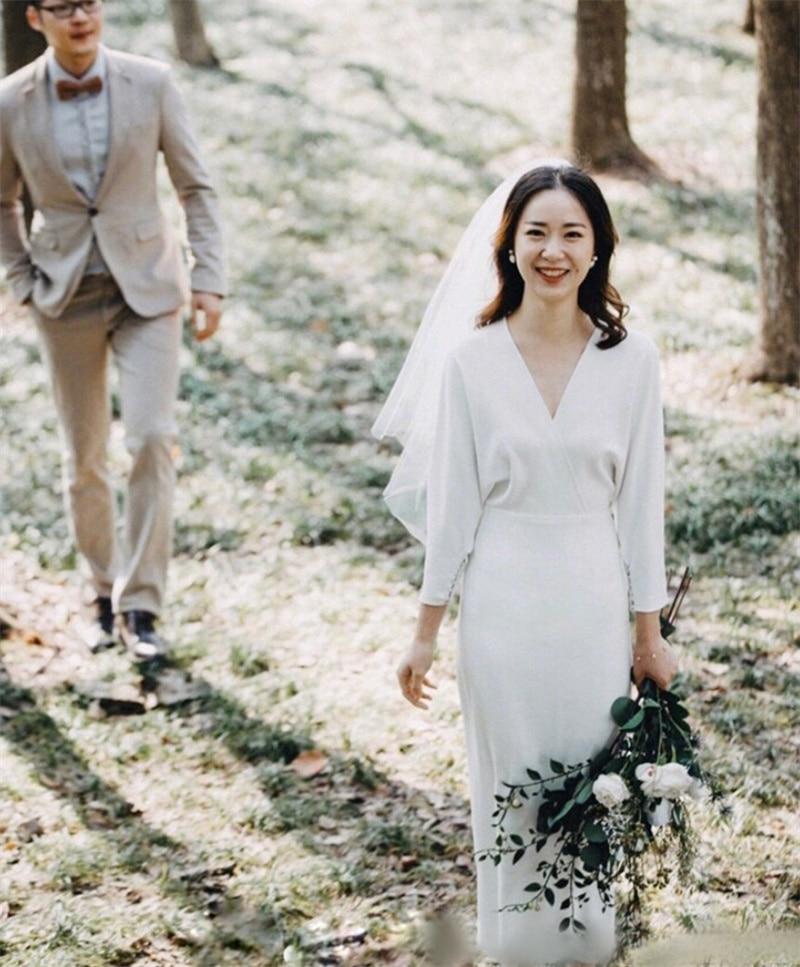 Promo Tea Length Soft Satin  A-Line Wedding Dress 2021 Simple Elegant V Neck Half Sleeve Bridal Gowns vestidos de mairee Wedding