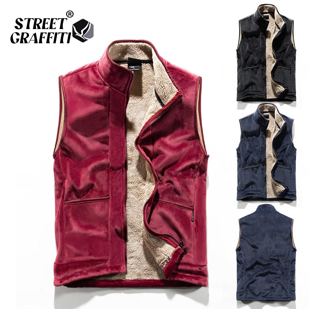 Men 2021 Autumn New Thick Sleeveless Men Winter Outwear Fashion Casual Vest Jacket Waistcoat Warm Cotton L-6XL Vests Waistcoat